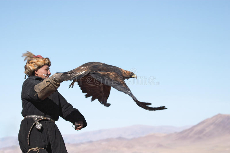 Eaglehunter with golden eagle royalty free stock photos