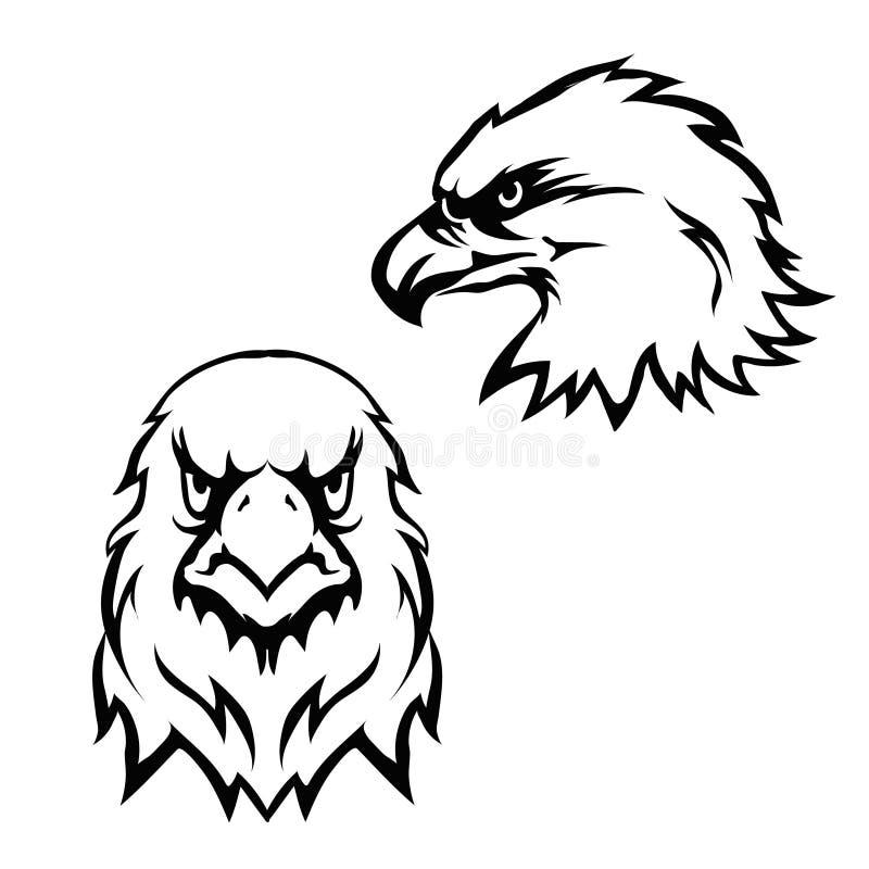 Eagles возглавляют символ талисмана шаблона эмблемы логотипа установленный иллюстрация вектора