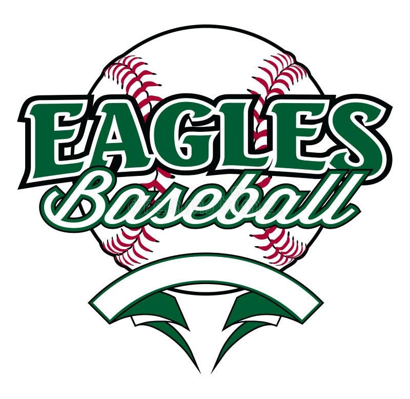 Eagles baseballa projekt Z sztandarem i piłką royalty ilustracja