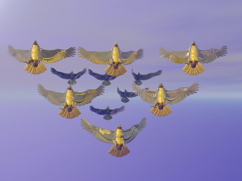 Eagles dourado na formação ilustração stock
