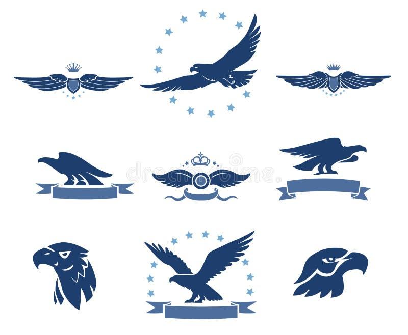 Eagles sylwetki Ustawiać ilustracja wektor