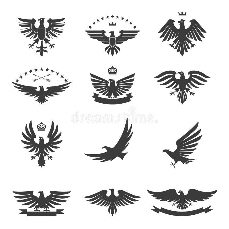 Eagles uppsättningsvart royaltyfri illustrationer