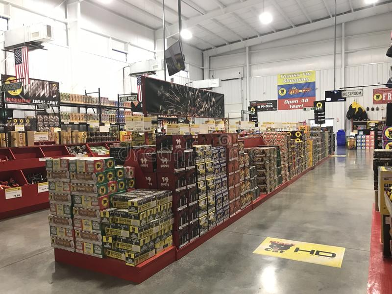 Fireworks store interior 7848 royalty free stock photography