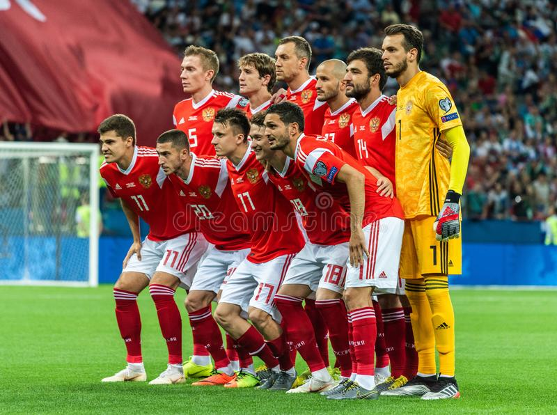 Eam photo of Russia national football team ahead of UEFA Euro 2020 qualification match Russia vs Cyprus 1-0 in Nizhny Novgorod. Nizhny Novgorod, Russia – royalty free stock images