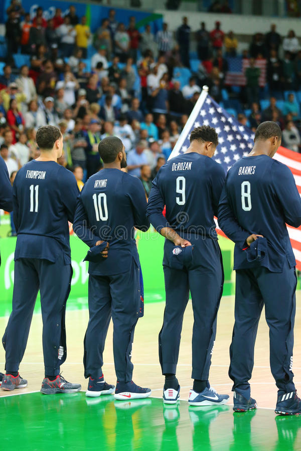 Eam United States during National Anthem before group A basketball match between Team USA and Australia of the Rio 2016. RIO DE JANEIRO, BRAZIL - AUGUST 10, 2016 royalty free stock photography