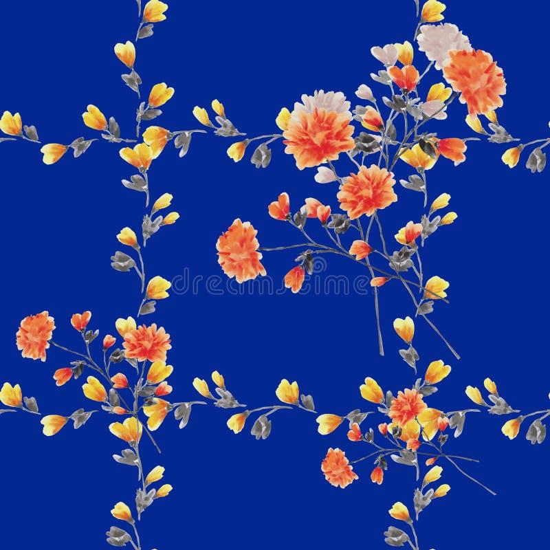 Eamless deseniowa mała czerwień kwitnie i bukiety i kolor żółty rozgałęziają się na głębokim błękitnym tle akwarela royalty ilustracja