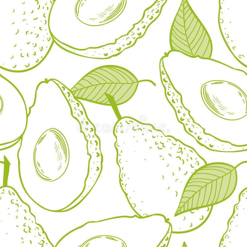 Eamless modell för översikt med avokadot stock illustrationer