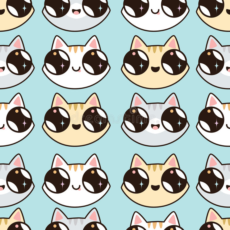 Eamless pattern with Kawaii kittens. Seamless pattern of cute cartoon cats, diff royalty free illustration