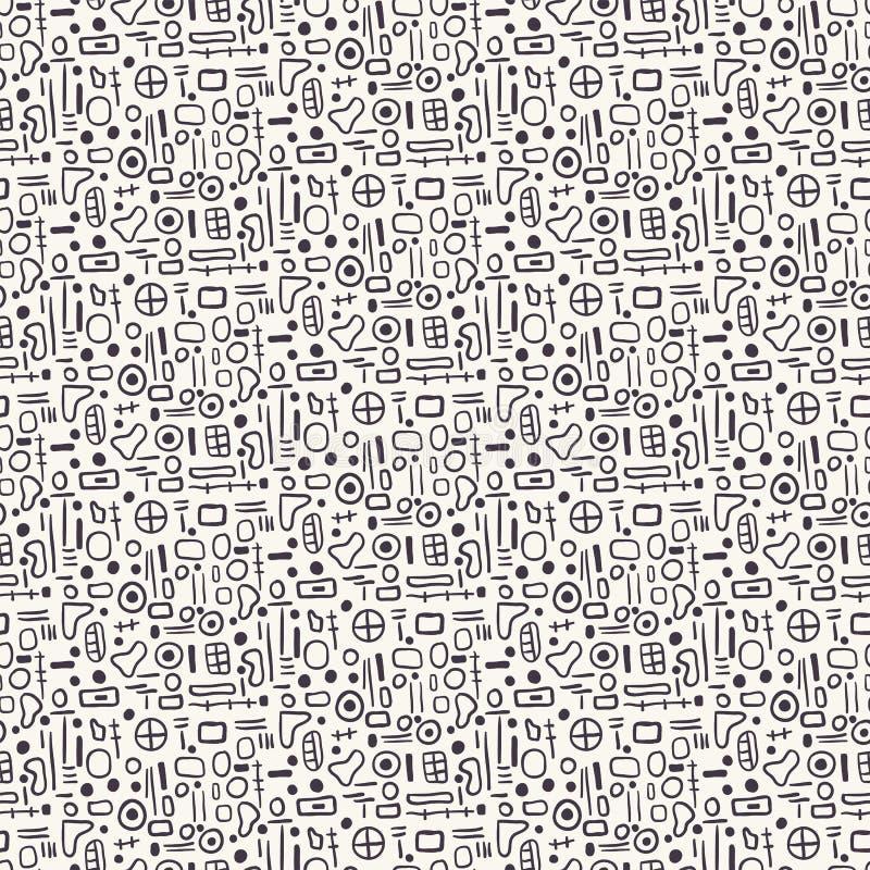 Eamless Vektormuster der geometrischen Formen Handgezogene kleine cirlces wiederholend, quadriert Hintergrund Einfarbiges Oberflä lizenzfreie abbildung