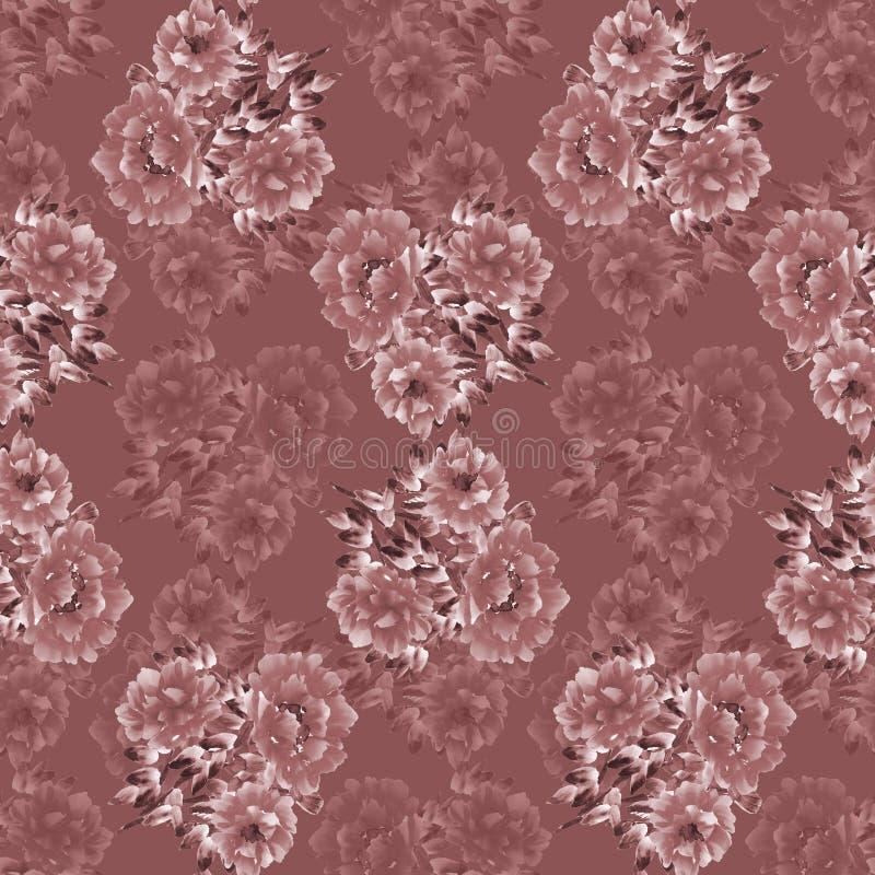 Eamless wzór głęboki różowy tło - różowi dzicy kwiaty na głębokim - Kwiecista tło akwarela royalty ilustracja