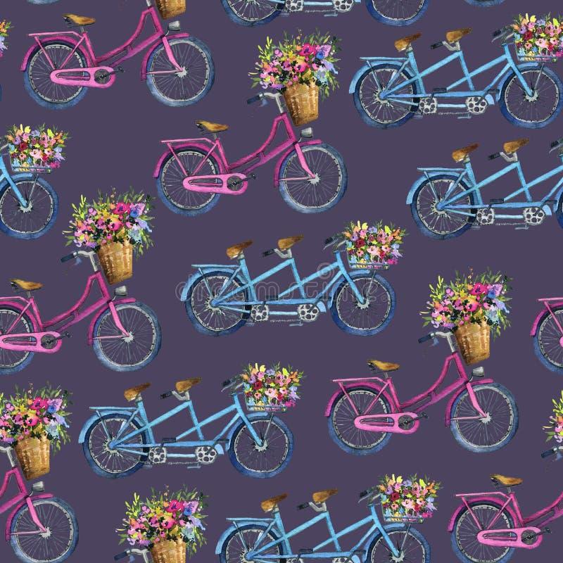 Eamless wzór z bicyklami i kwiatami ilustracja wektor