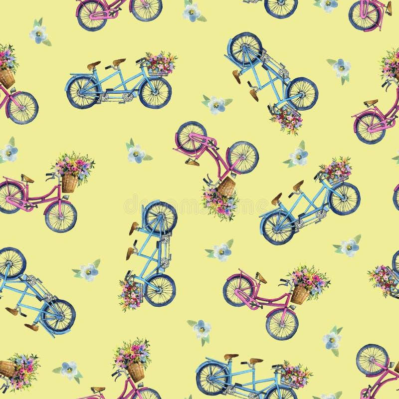 Eamless wzór z bicyklami i kwiatami ilustracji