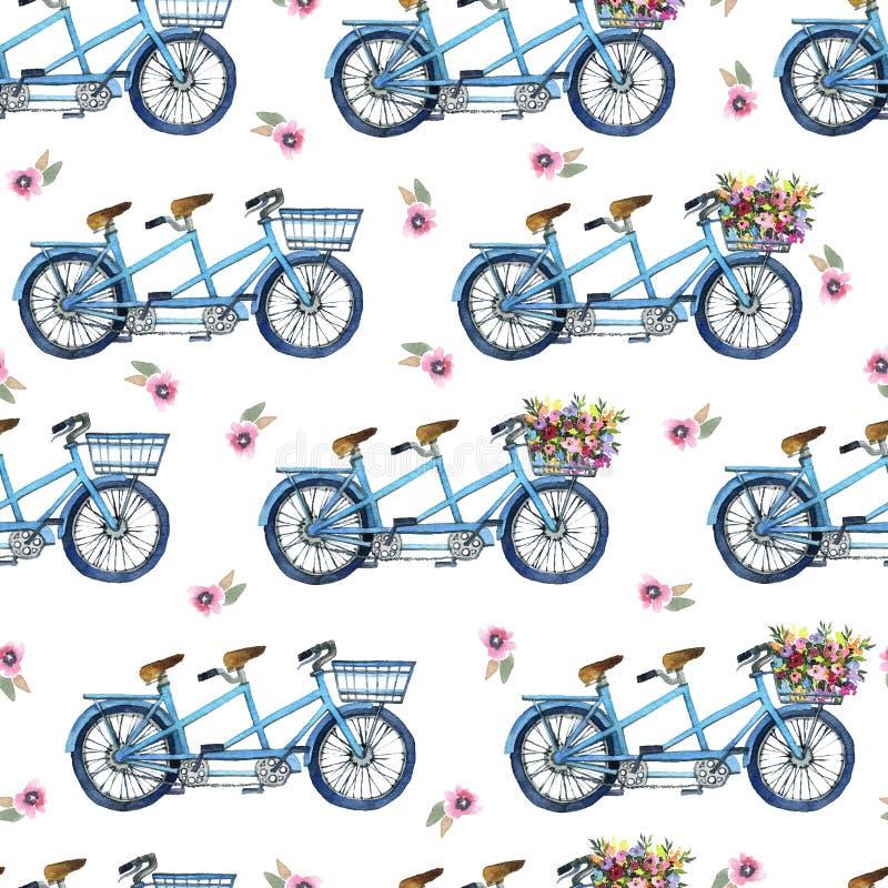 Eamless wzór z bicyklami i kwiatami zdjęcia royalty free
