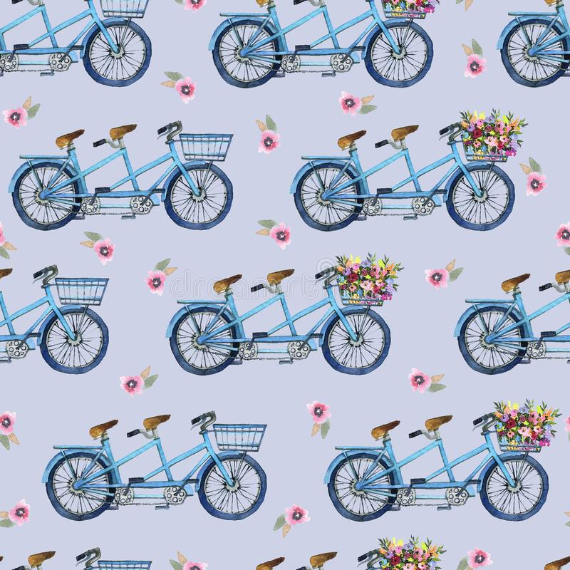 Eamlesspatroon met fietsen en bloemen royalty-vrije stock fotografie