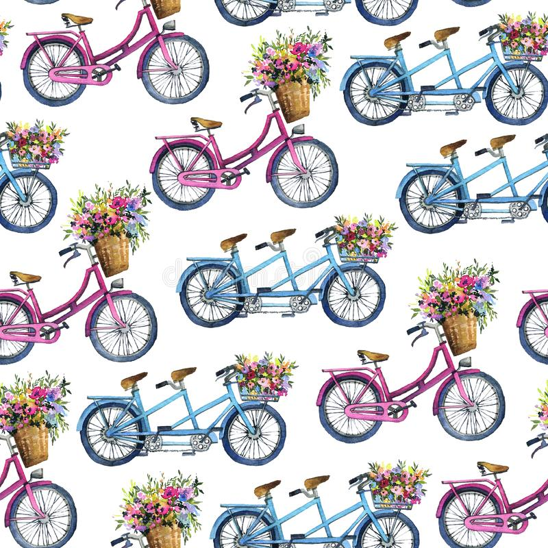 Eamlesspatroon met fietsen en bloemen stock afbeeldingen