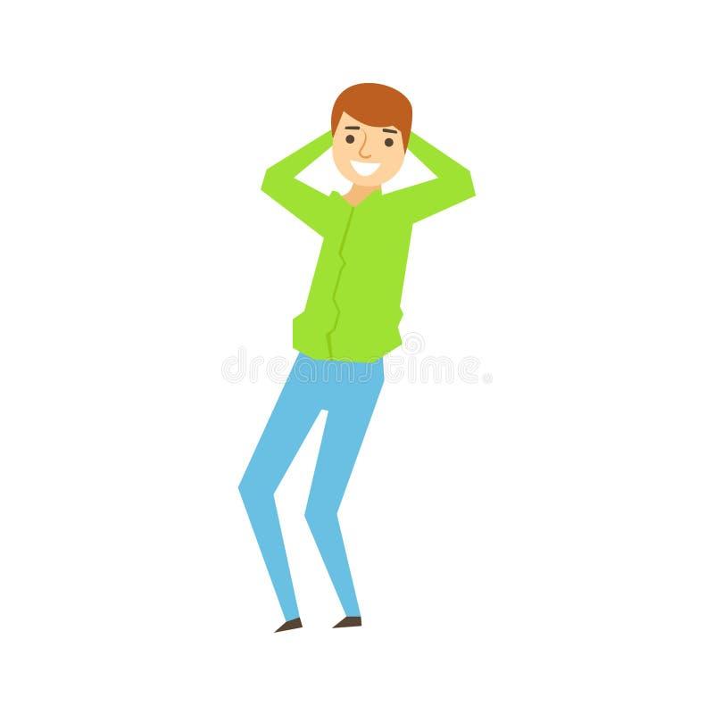 Eans que bailan, parte de Guy In Green Shirt And de gente bebida divertida que se divierte en el partido SeriesJ ilustración del vector