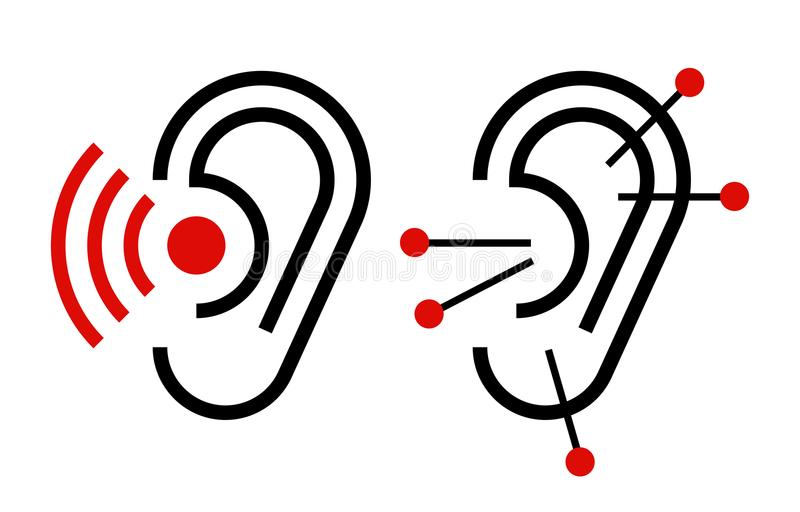 Ear Acupuncture And Hearing Aid Icon Stock Vector Illustration Of