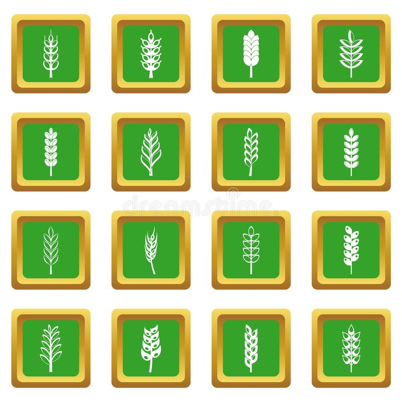Ear corn icons set green royalty free illustration
