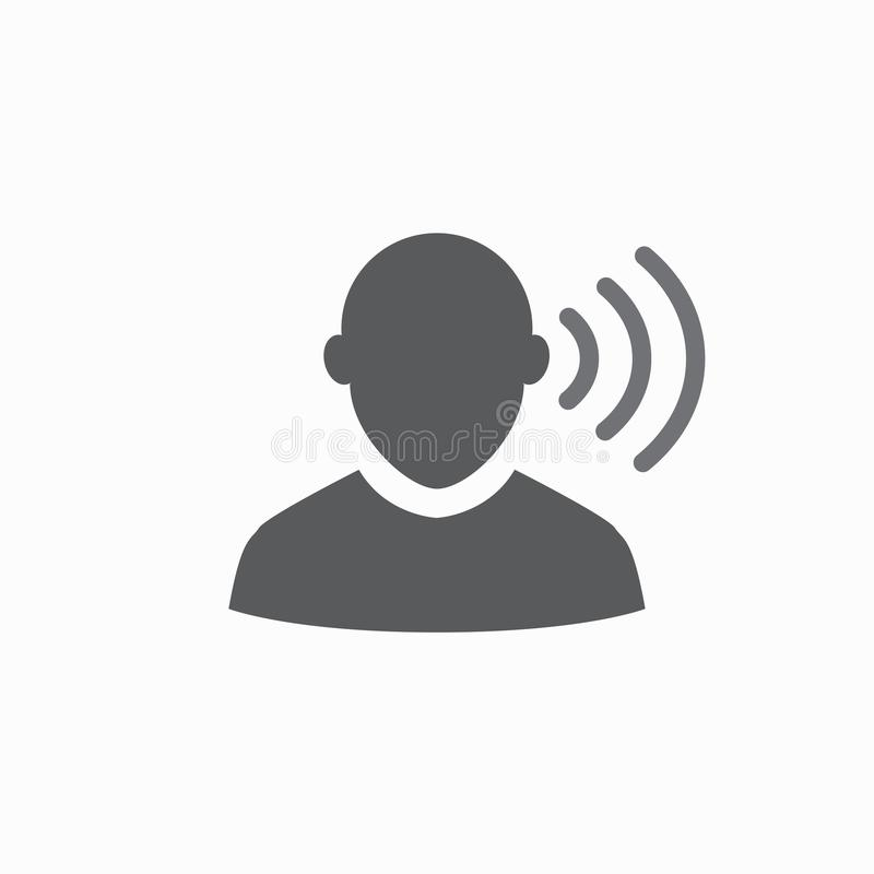 Ear and ear canal outline icon image for hearing. Ear and ear canal outline icon image - hearing or listening loss stock illustration