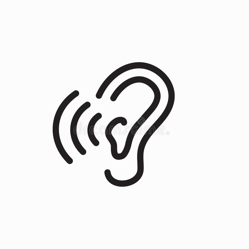 Ear and ear canal outline icon image for hearing / listening los. Ear and ear canal outline icon image - hearing or listening loss vector illustration