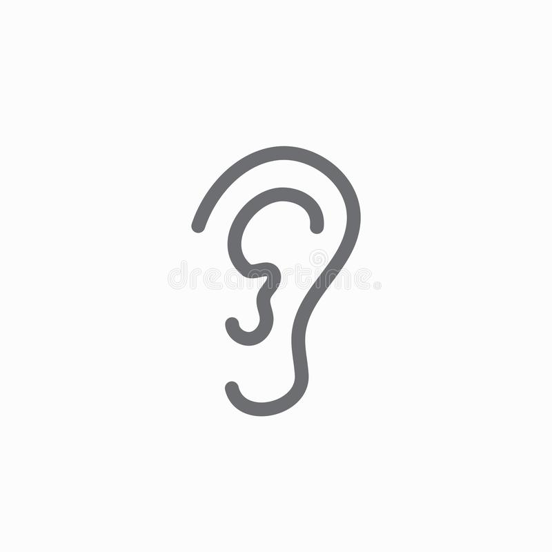 Ear and ear canal outline icon image for hearing / listening loss vector illustration