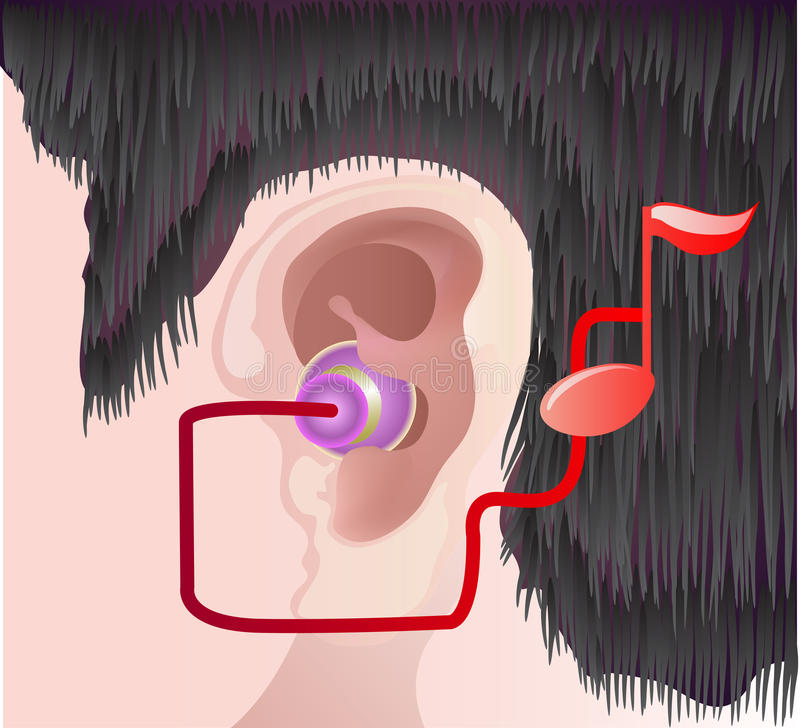 Download Ear with headphone stock vector. Image of listen, hair - 23810163