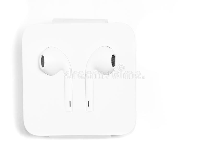 Download In Ear Headphones White In Special Case From Apple With Lightnin Stock Photo - Image of device, audio: 81346590