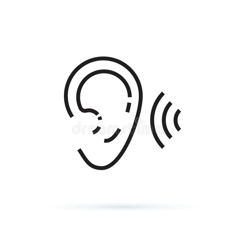 Ear icon, hearing linear sign isolated on white background editable vector illustration eps10. Hear healthcare, noise. Illustration icon.Stereo icon with waves royalty free illustration