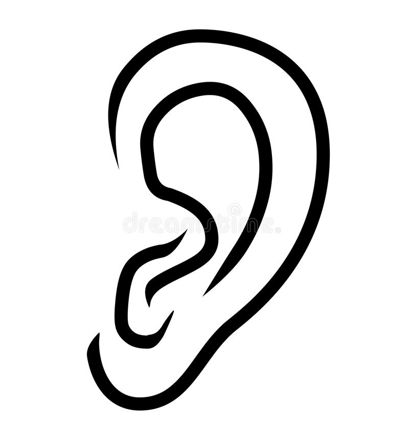 Ear icon logo vector.Ear illustration royalty free illustration