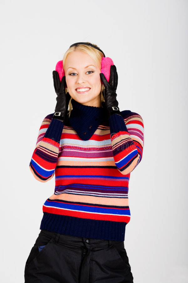 Ear muffs smile stock image