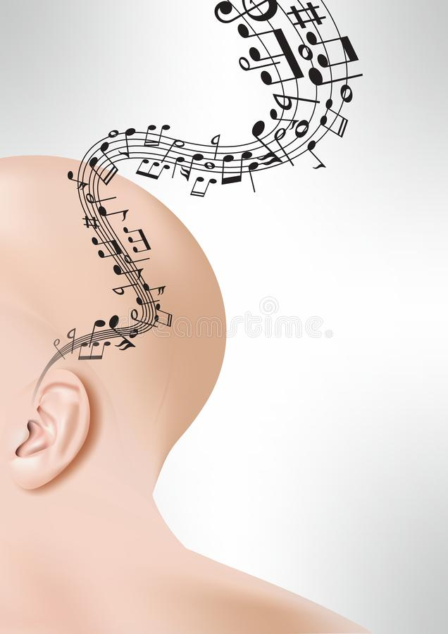 Ear with musical staff and notes royalty free stock images