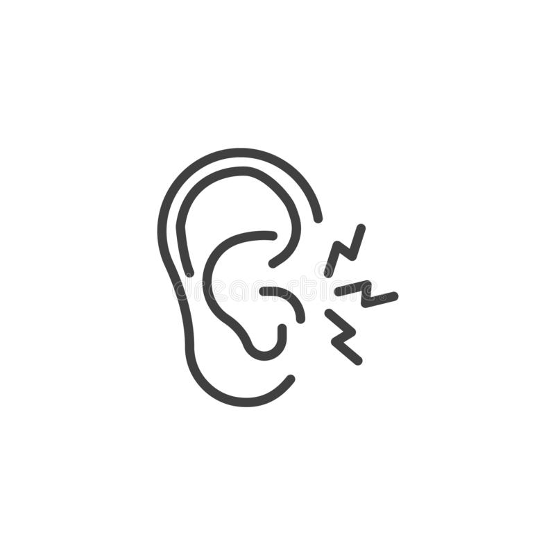 Ear pain line icon royalty free illustration