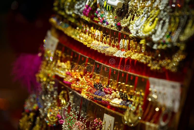 Street - Bangalore/Bengaluru. Ear rings displaying in a street shop in Bangalore, Bengaluru royalty free stock images