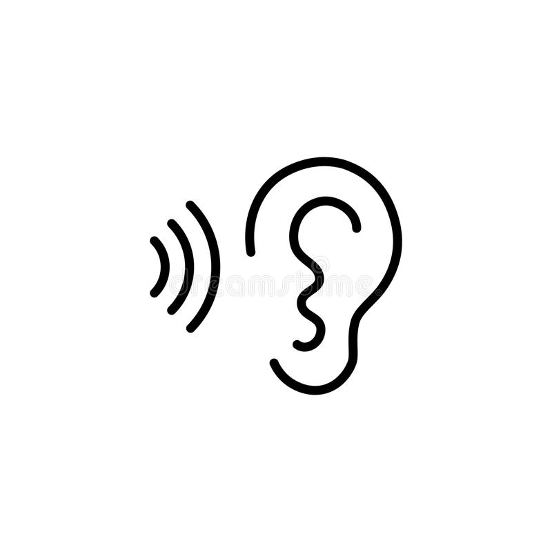 Ear and sound wave black icon. On white background royalty free illustration