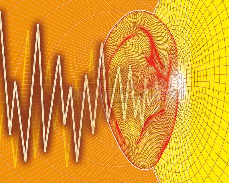Ear sound waves stock illustration