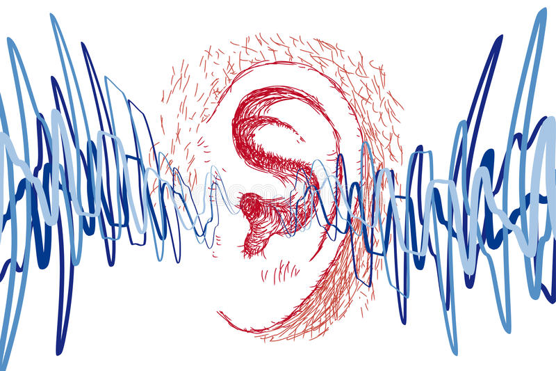 Ear and sound waves stock illustration