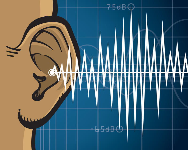 Ear Sound Waves. An illustration of sound waves entering a human ear