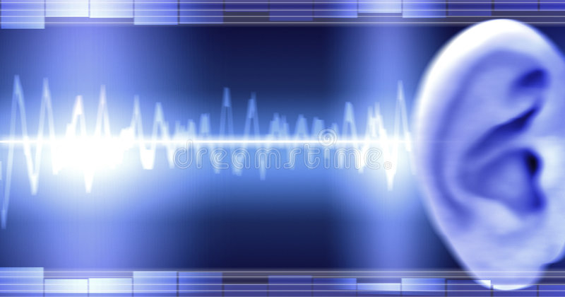 Ear With Soundwave. Image of sound wave hitting ear