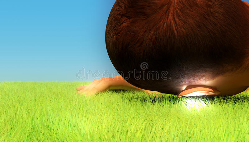 Ear to the ground stock illustration