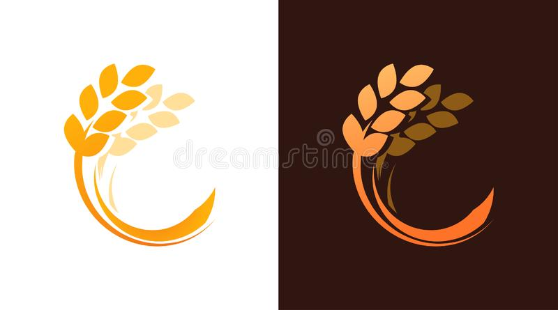 Ear of Wheat logotype for Bakery or Harvest Farm Company. Vector Emblem isolated on white and dark brown background. stock illustration