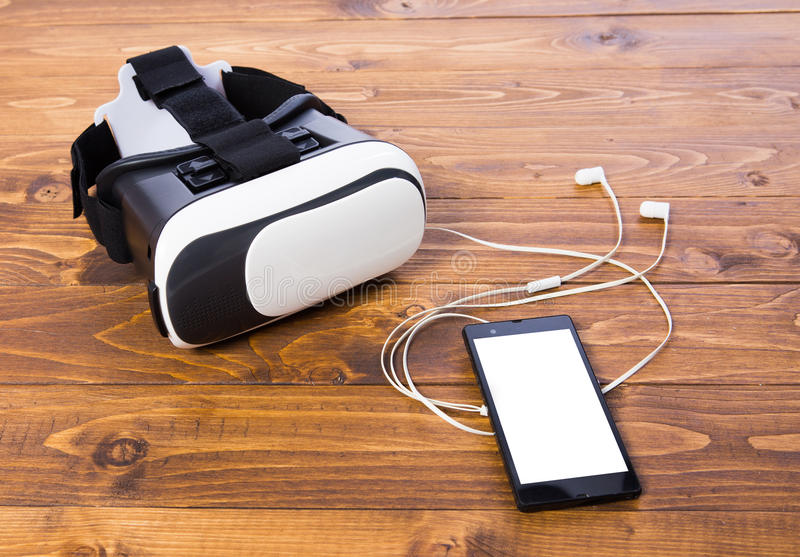 Earbud för VR-hörlurar med mikrofontelefon royaltyfri foto