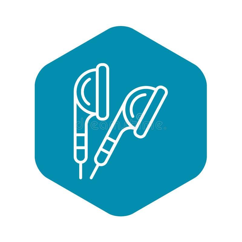 Earbuds ikona, konturu styl ilustracji