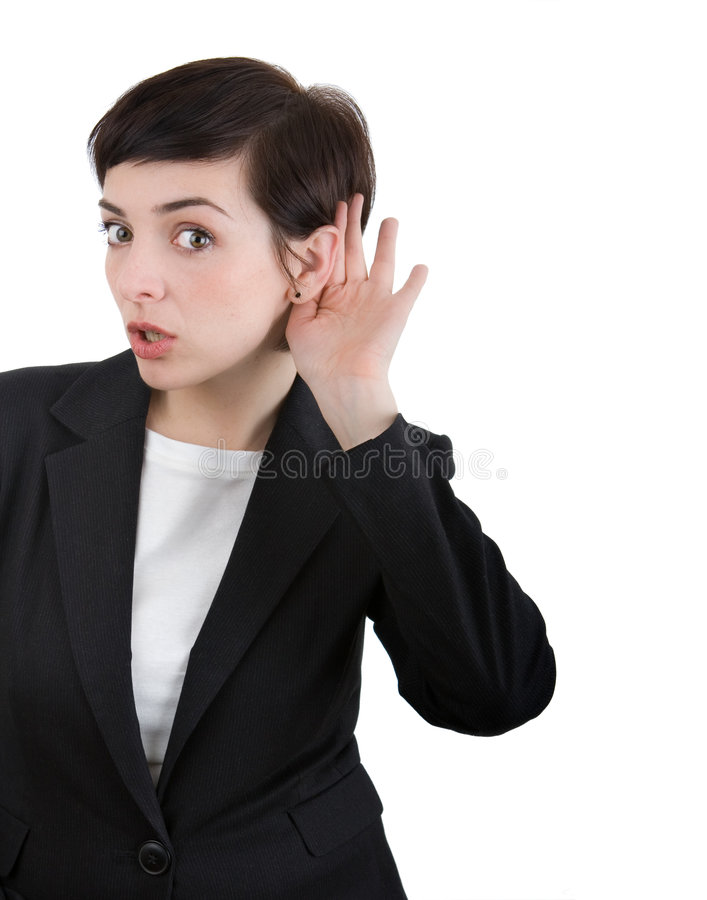 earesdropping γυναίκα στοκ εικόνα με δικαίωμα ελεύθερης χρήσης