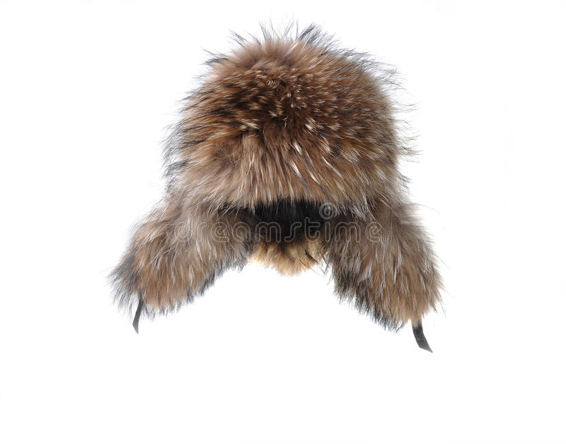 Earflaps fur cap winter. One on white background royalty free stock photos