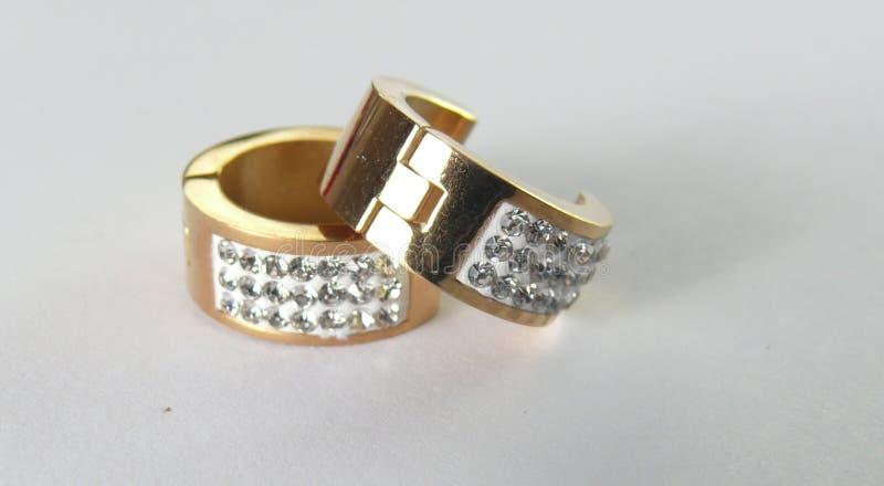 Earings gold stock image