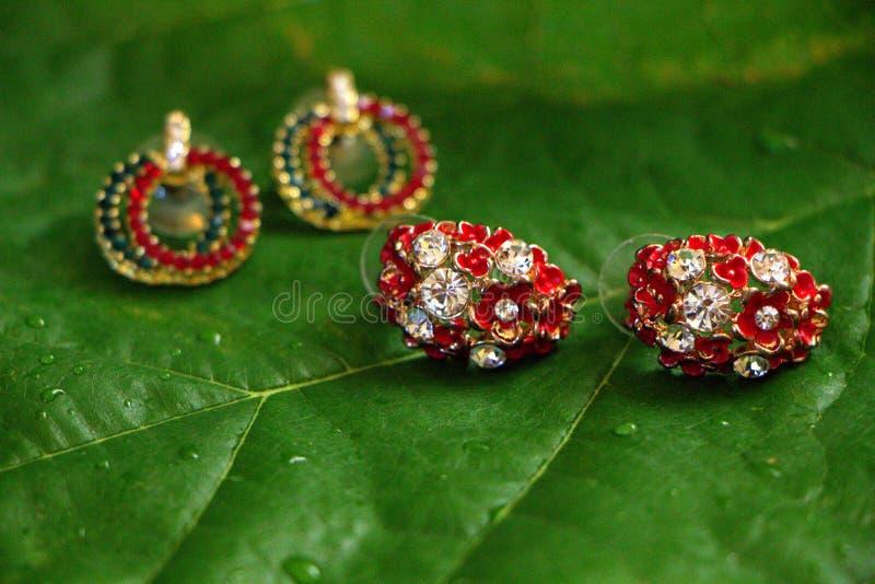 Earings vermelho & verde imagem de stock