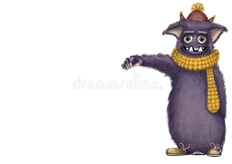 Earl the big hairy purple monster. Big purple smiling monster with yellow scarf hat and shoes royalty free illustration