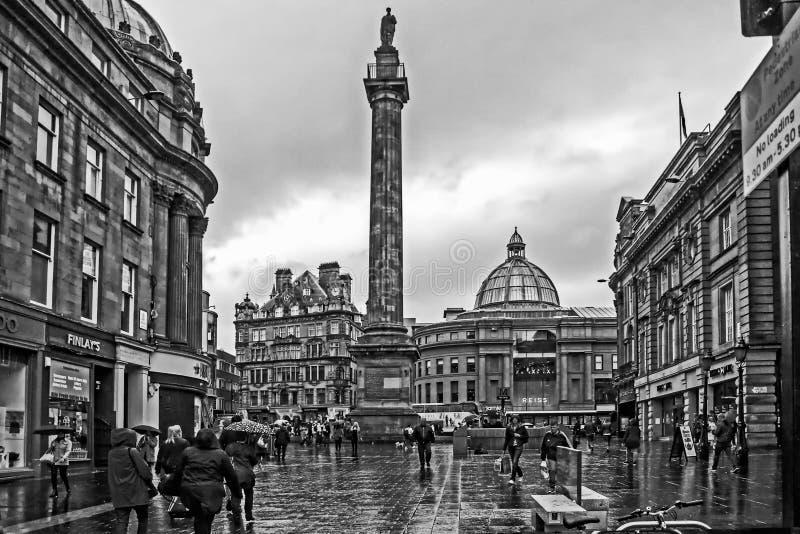 Earl Grey Monument sous la pluie image libre de droits