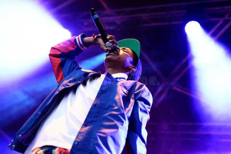 Earl Sweatshirt (American rapper and member of the hip hop collective Odd Future) performance at Heineken Primavera Sound 2014. BARCELONA - MAY 29: Earl royalty free stock image