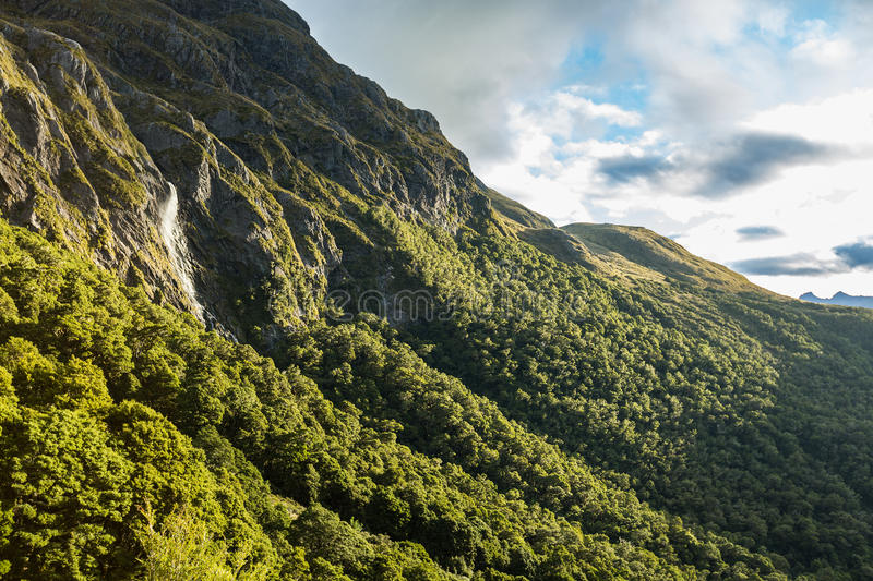 Earland Falls. On Routeburn Track in New Zealand stock image